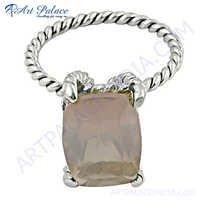 Gemstones Suppliers Rose Quartz  Silver Ring