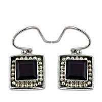 Popular Design Garnet Gemstone Silver Earrings
