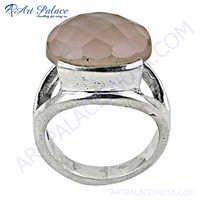 Stylish 925 Sterling Silver Ring With Rose Quartz