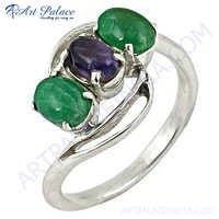 Fashion Accessories Amethyst  & Green Onyx Silver Ring