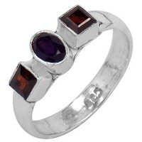 Trendy Amethyst & Garnet Gemstone Silver Ring