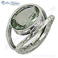 Lovely Green Amethyst Sterling Silver Ring