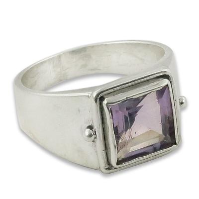 Fashion Accessories Amethyst Gemstone Silver Ring