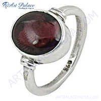 Fashionable Garnet  Silver Ring