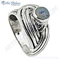 Unique Rainbow Moonstone 925 Sterling Silver Ring