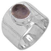 New Antique Rose Quartz Gemstone Silver Ring