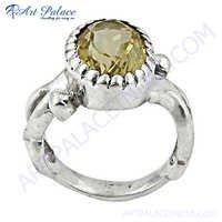 Hot Selling Citrine Silver Gemstone Ring