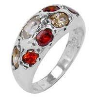 Charming Multi Gemstone Silver Ring
