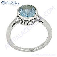New Antique Blue Topaz Silver Ring