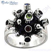 Royal Multi Stone 925 Sterling Silver Ring