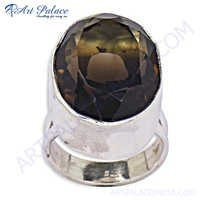 Excellent New Silver Smokey Quartz Ring