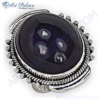 Classy Amethyst Silver Gemstone Ring