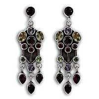Multi Gemstone Silver Earring Jewellery New Arrival Gemstone Silver Jewellery