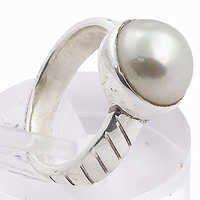 Simplicity Pearl Gemstone Silver Ring