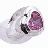 Romentic Pink Cubic Zirconia Gemstone Silver Ring