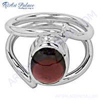 Cute Garnet Silver Ring