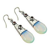 Valuable 925 Sterling Silver,Garnet,Synthetic Opal Gemstone Earrings