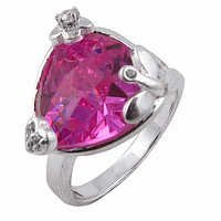 Sparkling Pink & Cubic Zirconia Silver Ring
