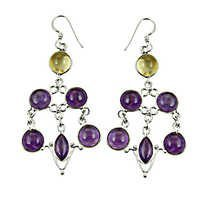 Attrective Amethyst,Citrine Gemstone Silver Earrings