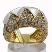 Royal Wedding Cubic Zirconia Gold Plated Silver Ring