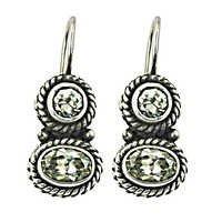 Designer CZ Gemstone Silver Earrings