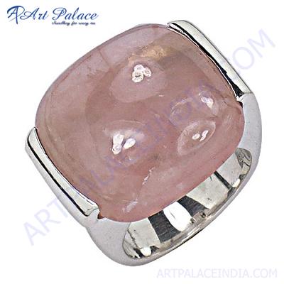Cool Rose Quartz Silver Ring