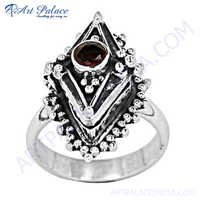 Antique Garnet Style Silver Ring