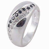 Precious Antique Black Onyx & Cubic Zirconia Silver Ring