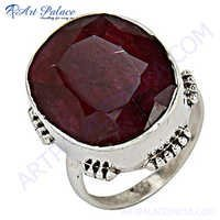 Excellent New Silver Ruby Ring