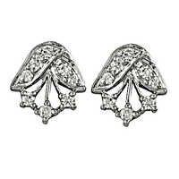 Indian Design Silver CZ Gemstone Earrings