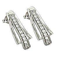 Cubic Zirconia Stylish 925 Sterling Silver Earrings