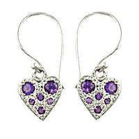 New Heart Shape Amethyst Gemstone Silver Earrings