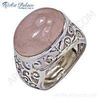 Designer Rose Quartz  Silver Ring
