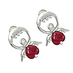 Cubic Zirconia Silver Unique Design Silver Earrings With Pink Glass