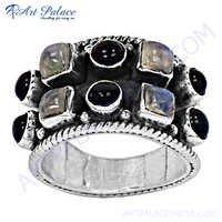 Cute Black Onyx Raimbow 925 Sterling Silver Ring