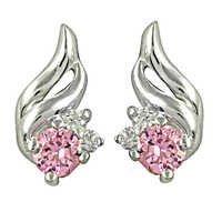 Loving Pink Cubic Zirconia Gemstone Silver Earrings