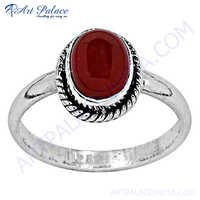 Fashion Accessories Red Onyx Silver Ring
