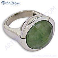 Stylish 925 Sterling Silver Ring With  Prenite