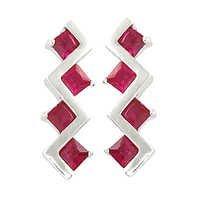 Hip Hop Pink Glass Silver Earrings