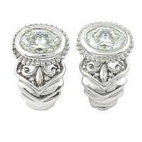 Fashionable CZ Gemstone Silver Earrings