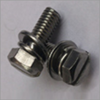 Ss 304 Hex Slotted Screw with Integrated SS Spring Washer & SS Plain Washer