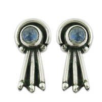 Attrective Rainbow Moonstone Silver Gemstone Earrings