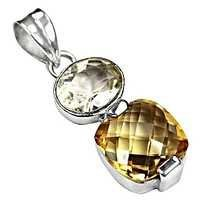 Classic Citrine & Crystal Gemstone Silver pendant