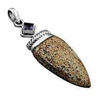 Famous Design Amethyst & Picture Jasper Gemstone Silver Pendant