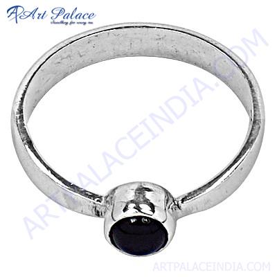 Cute Black Onyx  Silver Ring