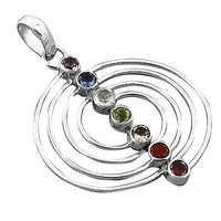 Spiral Multi Gemstone Silver Pendant