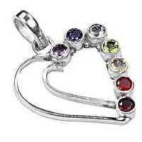 Romantic Heart Style Multi Gemstone Silver Pendant