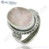 Fastival  Rose Quartz StoneSilver Ring