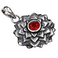 Fastival Designer Flower Cornileon Gemstone Silver Pendant