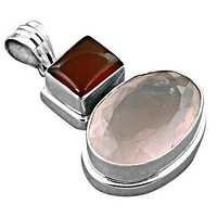 New Antique Red Onyx & Rose Quartz Gemstone Silver Pendant